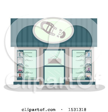 Clipart of a Shoe Store Facade - Royalty Free Vector Illustration by BNP Design Studio