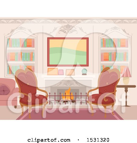 Clipart of a Victorian Living Room Interior with Chairs in Front of a Fireplace - Royalty Free Vector Illustration by BNP Design Studio