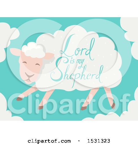 Clipart of a Lord Is My Shepherd Saying on a Sheep - Royalty Free Vector Illustration by BNP Design Studio