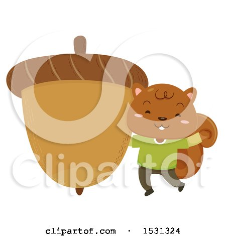 Clipart of a Squirrel with a Giant Acorn - Royalty Free Vector Illustration by BNP Design Studio