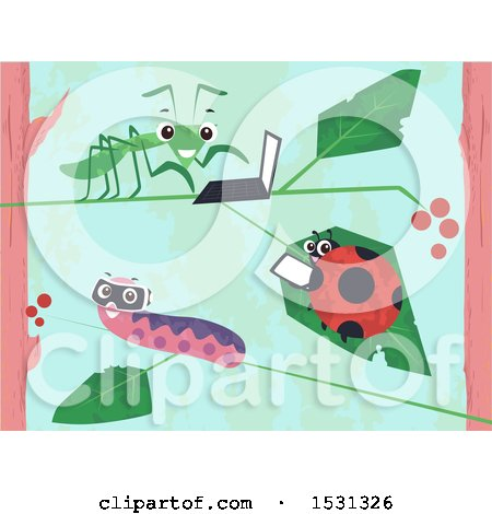 Clipart of a Grasshopper, Ladybug and Caterpillar Using Gadgets - Royalty Free Vector Illustration by BNP Design Studio