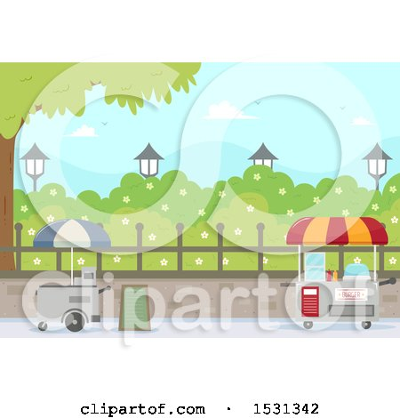 Food Carts in a City Park Posters, Art Prints