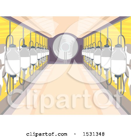 Clipart of a Milk Factory Interior with Bottles Connected to Cows - Royalty Free Vector Illustration by BNP Design Studio