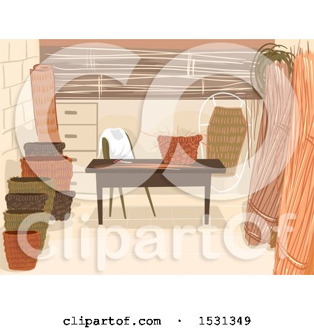 Clipart of a Basket Weaving Shop Interior - Royalty Free Vector Illustration by BNP Design Studio