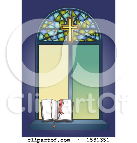 Clipart of a Stained Glass Window with an Open Bible and Rosary - Royalty Free Vector Illustration by BNP Design Studio
