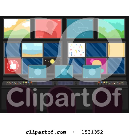 Clipart of Studio Broadcasting Monitors and Equipment - Royalty Free Vector Illustration by BNP Design Studio