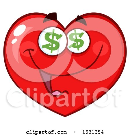 Clipart of a Greedy Red Love Heart Character with Dollar Eyes - Royalty Free Vector Illustration by Hit Toon