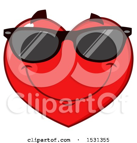 Clipart of a Red Love Heart Character Wearing Sunglasses - Royalty Free Vector Illustration by Hit Toon