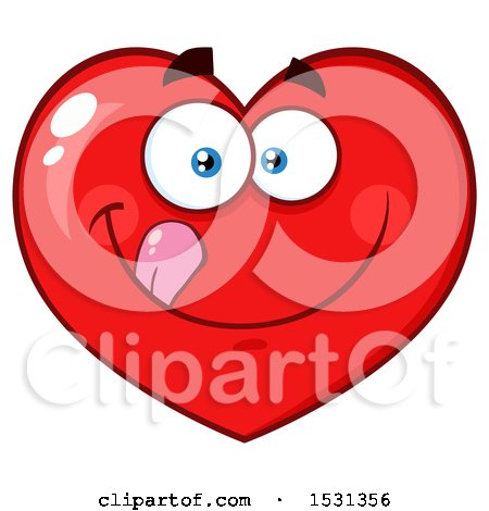 Clipart of a Red Love Heart Character Licking His Lips - Royalty Free Vector Illustration by Hit Toon