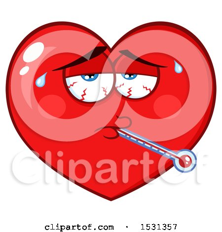 Clipart of a Sick Red Love Heart Character - Royalty Free Vector Illustration by Hit Toon