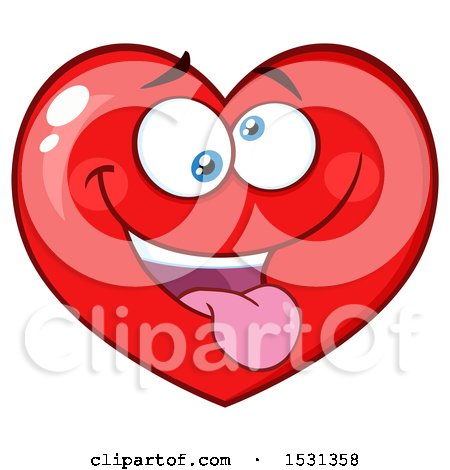 Clipart of a Silly Red Love Heart Character - Royalty Free Vector Illustration by Hit Toon