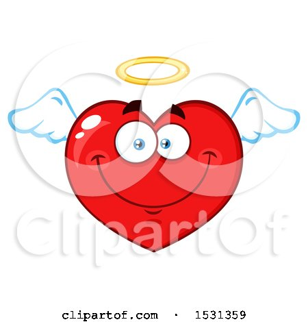 Clipart of a Red Love Heart Character Angel - Royalty Free Vector Illustration by Hit Toon