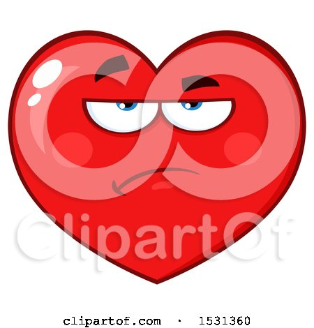 Clipart of a Grumpy Red Love Heart Character - Royalty Free Vector Illustration by Hit Toon