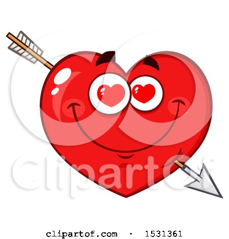 Clipart of a Red Love Heart Character Struck with Cupids Arrow - Royalty Free Vector Illustration by Hit Toon