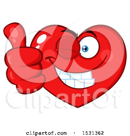 Clipart of a Red Love Heart Character Winking and Giving a Thumb up - Royalty Free Vector Illustration by Hit Toon