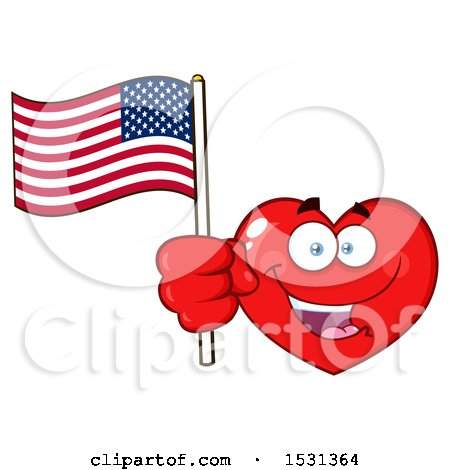 Clipart of a Red Love Heart Character Holding an American Flag - Royalty Free Vector Illustration by Hit Toon