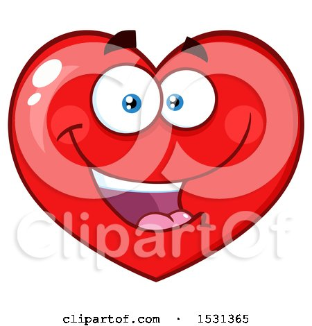 Clipart of a Red Love Heart Character - Royalty Free Vector Illustration by Hit Toon