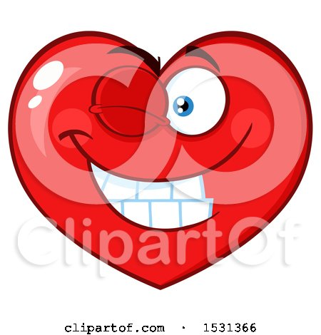 Clipart of a Red Love Heart Character Winking - Royalty Free Vector Illustration by Hit Toon