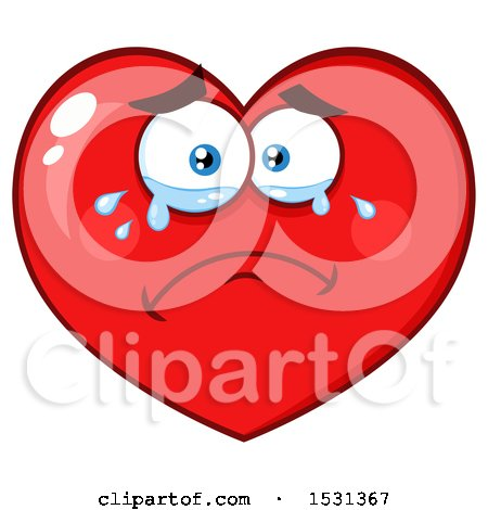 Clipart of a Red Love Heart Character Crying - Royalty Free Vector Illustration by Hit Toon
