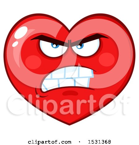 Clipart of a Mad Red Love Heart Character - Royalty Free Vector Illustration by Hit Toon