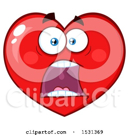 Clipart of a Screaming Red Love Heart Character - Royalty Free Vector Illustration by Hit Toon
