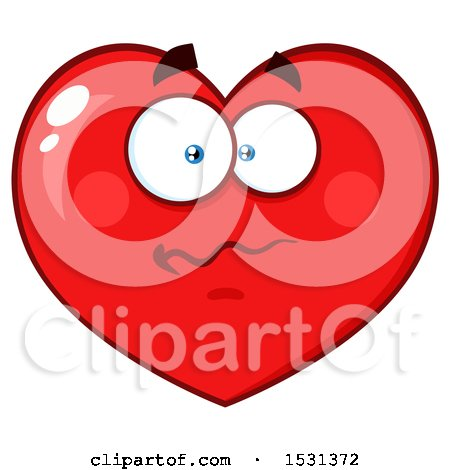 Clipart of a Confused Red Love Heart Character - Royalty Free Vector Illustration by Hit Toon
