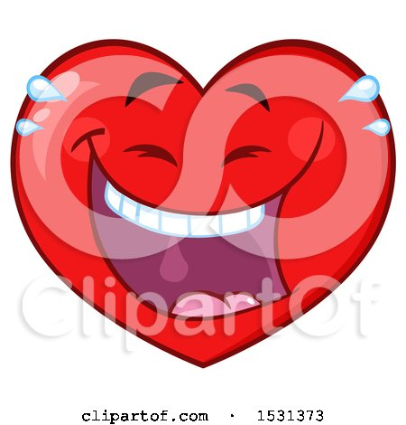 Clipart of a Laughing Red Love Heart Character - Royalty Free Vector Illustration by Hit Toon