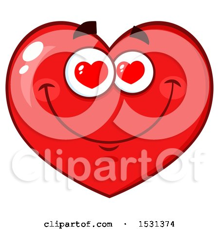 Clipart of a Red Love Heart Character with Heart Eyes - Royalty Free Vector Illustration by Hit Toon