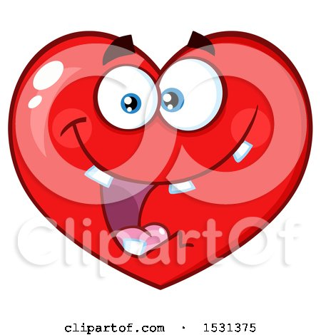 Clipart of a Goofy Red Love Heart Character - Royalty Free Vector Illustration by Hit Toon