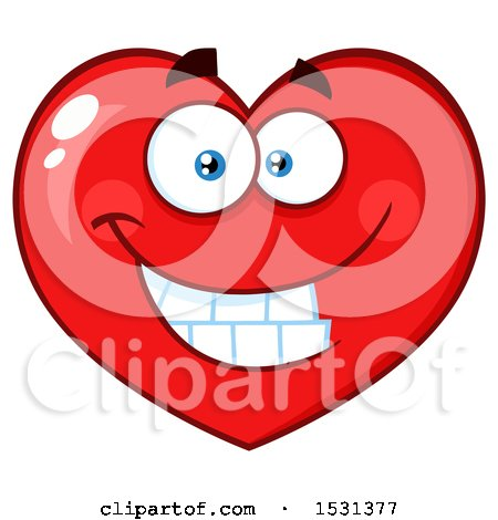 Clipart of a Grinning Red Love Heart Character - Royalty Free Vector Illustration by Hit Toon