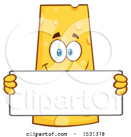 Clipart of a Cheese Character Mascot Holding a Blank Sign - Royalty Free Vector Illustration by Hit Toon
