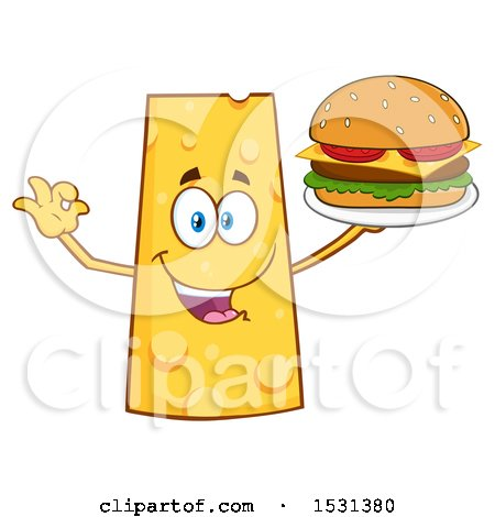 Clipart of a Cheese Character Mascot Holding a Burger - Royalty Free Vector Illustration by Hit Toon
