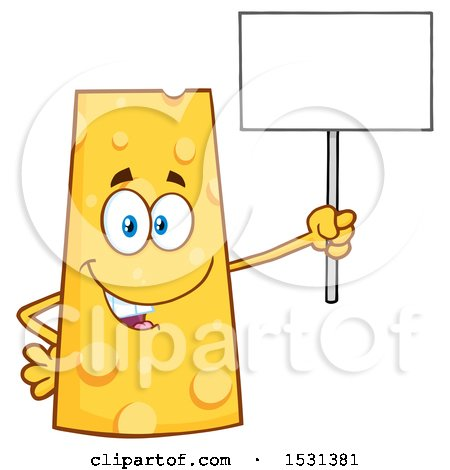 Clipart of a Cheese Character Mascot Holding up a Blank Sign - Royalty Free Vector Illustration by Hit Toon