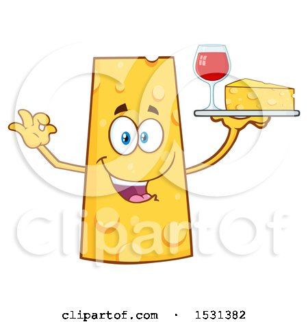 Clipart of a Cheese Character Mascot Holding a Tray with Wine and a Wedge - Royalty Free Vector Illustration by Hit Toon