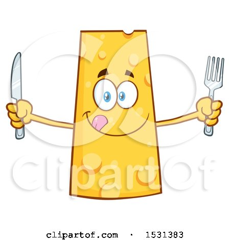 Clipart of a Cheese Character Mascot Holding a Fork and Knife - Royalty Free Vector Illustration by Hit Toon