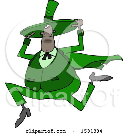 Clipart of a Cartoon Chubby Black St Patricks Day Leprechaun Holding His Hat and Running - Royalty Free Vector Illustration by djart