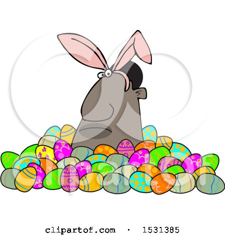 Clipart of a Grumpy Black Man Wearing Bunny Ears and Popping out of a Pile of Decorated Easter Eggs - Royalty Free Vector Illustration by djart