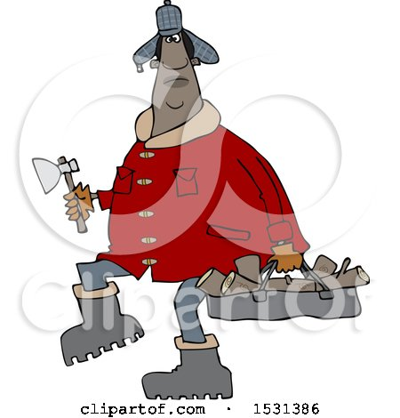 Clipart of a Chubby Black Man in a Winter Coat and Hat, Walking and Carrying Firewood and an Axe - Royalty Free Vector Illustration by djart