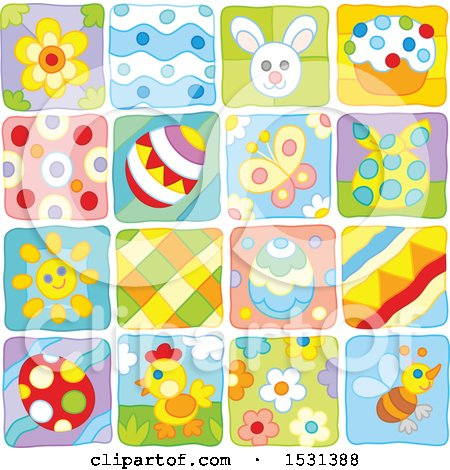 Clipart of Easter and Spring Themed Tiles - Royalty Free Vector Illustration by Alex Bannykh