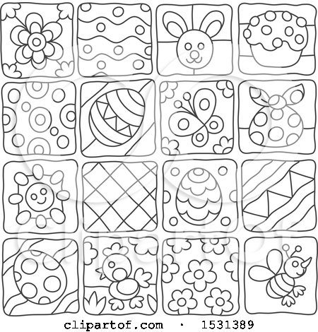 Clipart of Black and White Easter and Spring Themed Tiles - Royalty Free Vector Illustration by Alex Bannykh