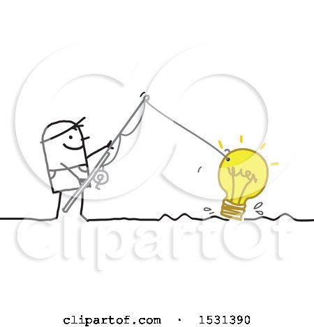 Stick Man Reeling in a Light Bulb with a Fishing Pole Posters, Art Prints