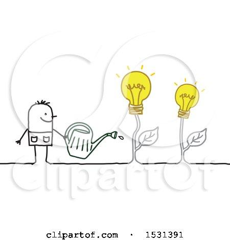 Stick Man Watering Idea Light Bulb Plants Posters, Art Prints