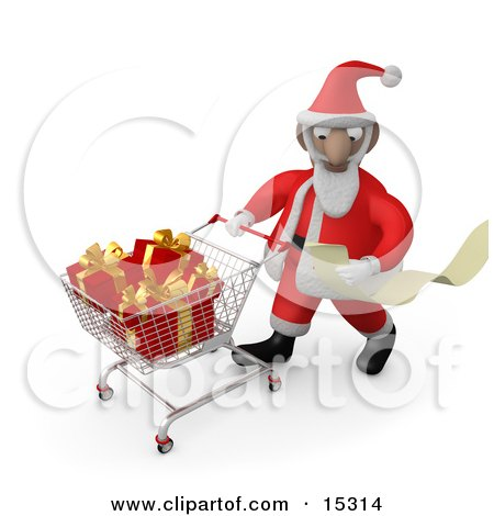 Santa Claus Reading A Very Long List And Purchasing Christmas Presents While Pushing A Shopping Cart In A Store  Posters, Art Prints