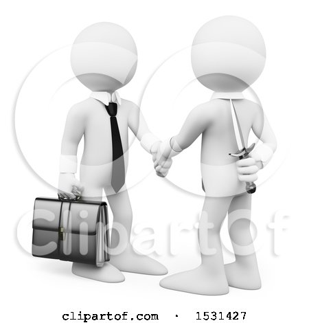 3d White Business Man Holding a Knife Behind His Back While Shaking Hands, on a White Background Posters, Art Prints