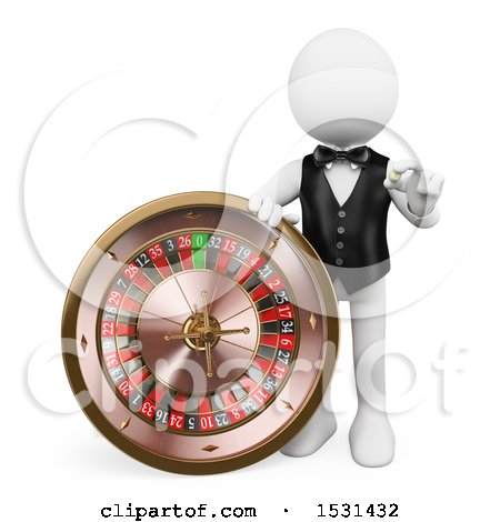 Clipart of a 3d White Man Croupier with a Casino Roulette, on a White Background - Royalty Free Illustration by Texelart