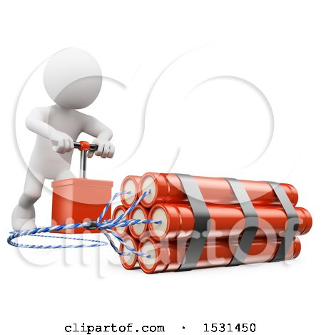 Clipart of a 3d White Man Pushing the Detonator on a Bomb, on a White Background - Royalty Free Illustration by Texelart