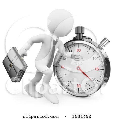 Clipart of a 3d White Business Man Running by a Stopwatch, on a White Background - Royalty Free Illustration by Texelart