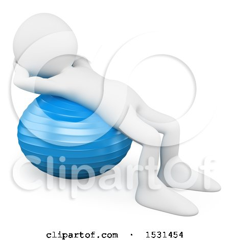 Clipart of a 3d White Man Using an Exercise Ball, on a White Background - Royalty Free Illustration by Texelart
