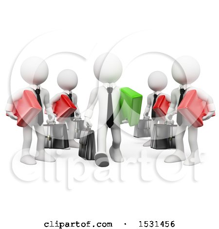 Clipart of a 3d White Business Man Leaving a Business Team to Become an Entrepeneur, on a White Background - Royalty Free Illustration by Texelart