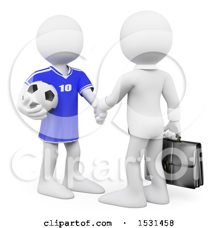 3d White Business Man Manager Shaking Hands with a Soccer Player, on a White Background Posters, Art Prints
